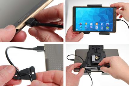 Inštalácia produktu Aktívny nastaviteľný držiak UNI pre tablet 120-150mm USB+CL Krok 1.