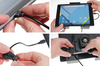 Inštalácia produktu Aktívny nastaviteľný držiak UNI pre tablet 140-195mm USB+CL Krok 1.