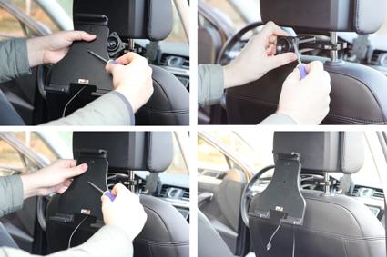 Inštalácia produktu Aktívny nastaviteľný držiak UNI pre tablet 180-230mm USB+CL. Krok 2.