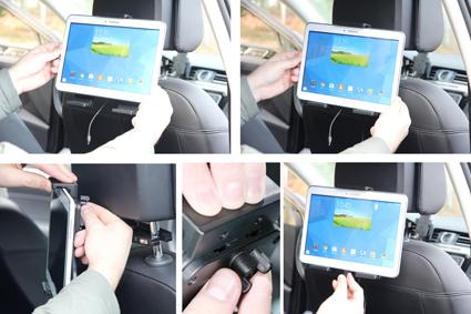 Inštalácia produktu Aktívny nastaviteľný držiak UNI pre tablet 180-230mm USB+CL. Krok 3.