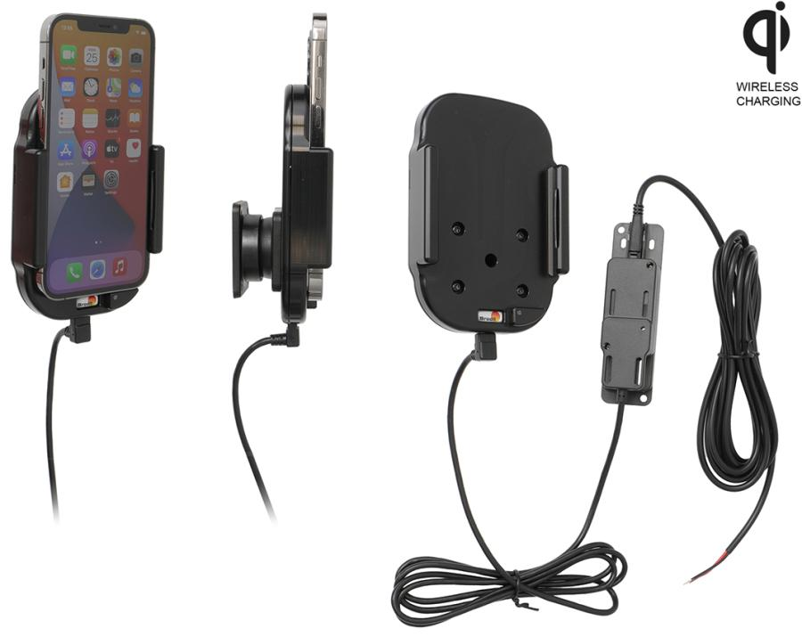 Qi wireless active holder for fixed installation With 2