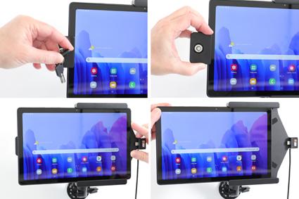 Inštalácia produktu Aktívny držiak pre Samsung Galaxy Tab A7 10.4 USB+CL s uzamykaním. Krok 3.