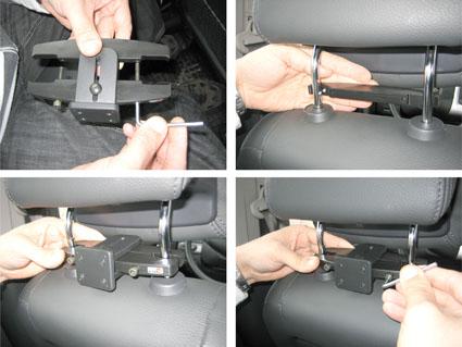 Inštalácia produktu Konzola pre montáž na sedadlo v aute (na opierku hlavy) 95-155m Krok 1.