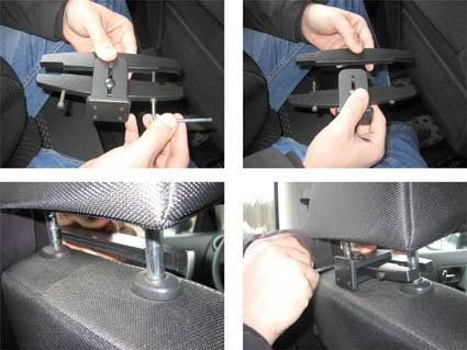 Inštalácia produktu Konzola pre montáž na sedadlo v aute (na opierku hlavy) 123- 183mm Krok 1.